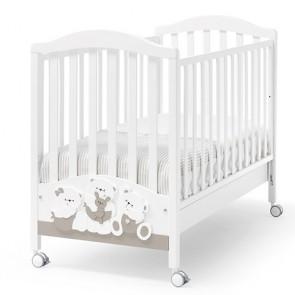 Lettino culla Erbesi per neonato, culle bambini in legno bianco tortora dimensioni 131,5x71x105 cm.