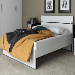 Letto matrimoniale due piazze per camera da letto, letti matrimoniali moderni in legno di colore bianco