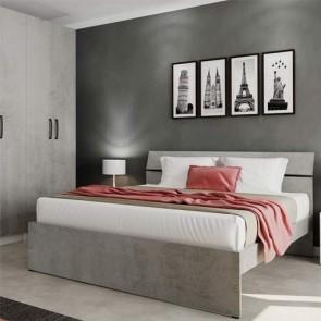 Letto matrimoniale due piazze per camera da letto, letti matrimoniali moderni in legno di colore cemento