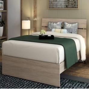 Letto matrimoniale due piazze per camera da letto, letti matrimoniali moderni in legno di colore olmo