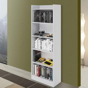 Libreria verticale componibile bianca alta 180 cm, librerie componibili e modulari in legno per ufficio e camerette bambini.