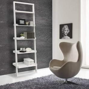 Mobile libreria scaletta a muro in MDF laccata bianco opaco, librerie scala 5 ripiani Tomasucci a parete ideale a casa e in ufficio.