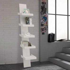 Libreria porta cd scaletta a muro in MDF laccata bianco opaco, librerie scala 5 ripiani Tomasucci