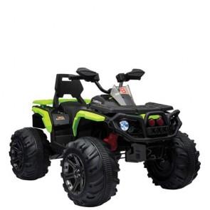 Quad elettrico verde per bambino con batteria 12 volt e retromarcia, moto mega quad elettrica ricaricabile per bambini con luci e suoni.