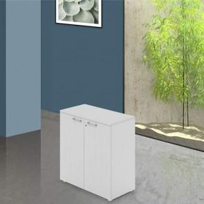 Mobile ufficio in legno bianco con serratura. Armadietto multiuso 2 ante con ripiani, dimensioni 90x45x87 cm.
