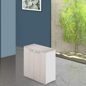 Mobile ufficio in legno olmo con serratura. Armadietto multiuso 2 ante con ripiani, dimensioni 90x45x87 cm.