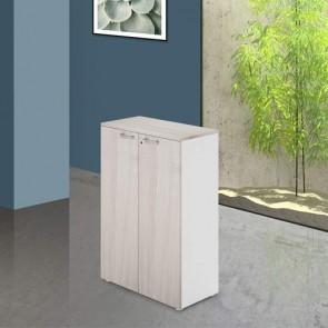 Mobile ufficio in legno olmo con serratura. Armadietto multiuso 2 ante con ripiani, dimensioni 90x45x129 cm.
