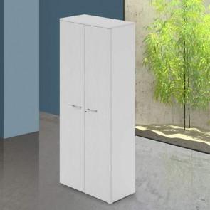 Mobile ufficio in legno bianco con serratura. Armadietto armadio multiuso 2 ante con ripiani, dimensioni 90x45x212 cm.