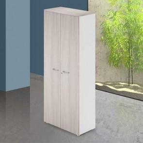Mobile ufficio in legno olmo con serratura. Armadietto armadio multiuso 2 ante con ripiani, dimensioni 90x45x212 cm.