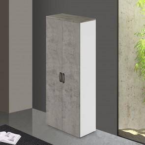 Mobile ufficio in legno cemento con serratura. Armadietto armadio multiuso 2 ante con ripiani