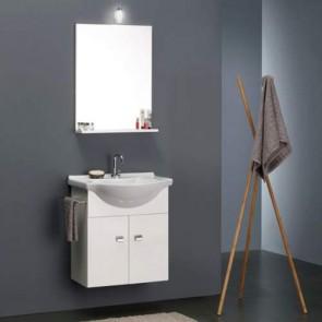 Kit Mobile bagno moderno sospeso Emma. Mobili sospesi in legno laccato bianco completo di specchio con illuminazione e lavabo