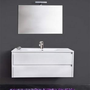Mobile bagno moderno sospeso Federica. Mobili sospesi in legno, colore bianco completo di specchio, illuminazione LED e lavabo.
