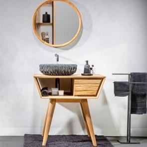 Mobile bagno legno vintage, consolle Cipì in teak naturale di recupero levigato con cassetto frontale effetto trave.