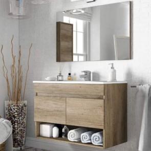 Mobile bagno moderno sospeso 80 cm Dakota con due ante e un vano a giorno in rovere.