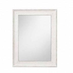 Specchio da parete con cornice bianca in legno, specchiera ingresso stile shabby chic.