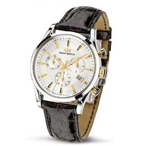 Orologio Philip Watch cronografo da polso con cinturino in pelle e data.