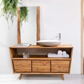Mobile bagno legno vintage. Consolle Cipì in teak naturale di recupero levigato, tre cassetti con frontale effetto trave.