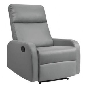 Poltrone relax reclinabile in ecopelle, poltroncina reclinabili grigia con braccioli.