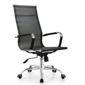 Poltrona direzionale ufficio girevole in tessuto. Sedia presidenziale traforata nera per scrivania, con braccioli, schienale alto e ruote.