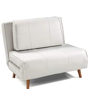 Poltrona letto Tomasucci con piedi in legno massello finitura faggio. Poltrone letto rivestite in pelle