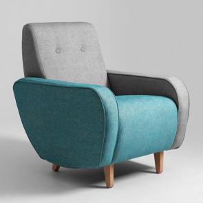 Poltrona CustomForm con seduta imbottita e due colori di rivestimento. Poltrone design moderno con braccioli in tessuto.