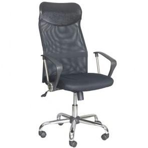 Sedia ufficio presidenziale girevole in tessuto nero, poltrona direzionale per scrivanie con braccioli e schienale in texilene.