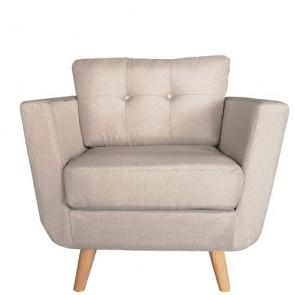 Poltrona in tessuto grigio con gambe in legno, poltrone sofa ideale in soggiorno o camera da letto