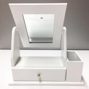 Portagioielli con specchio e cassetto in mdf stile provenzale, ideale per decorare un tavolino e consolle nel salotto