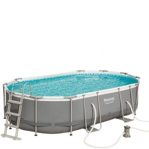 Piscina Bestway Power steel ovale 488x305x107 cm di altezza, piscine fuoriterra rigide con scaletta,