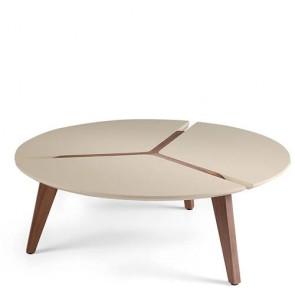 Tavolino salotto Angel Cerdà realizzato in noce con piano laccato, tavolini soggiorno in  legno