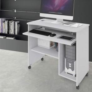 Scrivania ufficio porta computer con ruote e ripiano estraibile. Scrivanie pc in legno bianco per ragazzi, ideale per arredare camerette e studio.