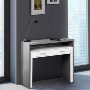 Consolle con scrivania ufficio estraibile dimensioni 99x36x88h cm, scrivanie a scomparsa in legno melaminico con due cassetti.