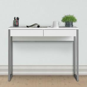 Consolle scrivania bianca laccata dimensioni 102x40x77h cm, scrivanie ufficio con due cassetti, struttura in metallo e top in MDF.