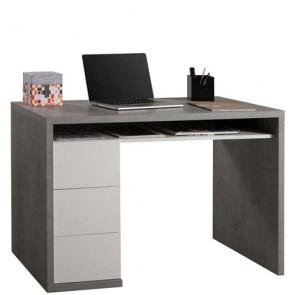 Scrivania ufficio Cemento con tre cassetti bianco laccato lucido. Scrivanie porta pc per ragazzi in legno