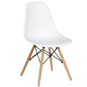 Sedia cucina in polipropilene e gambe in legno. Sedie ufficio design bianca da scrivania, poltroncina ideale anche in soggiorno.