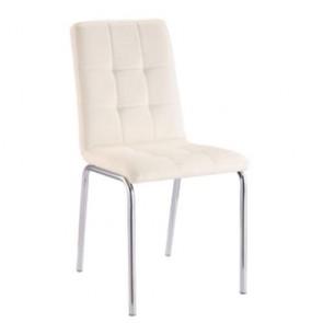 Sedia cucina moderna in pelle sintetica beige, sedie design con gambe in metallo per soggiorno.