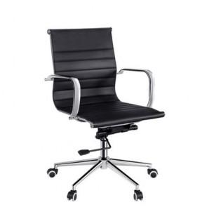 Poltrona direzionale ufficio nera, rivestita in PU. Sedie girevoli in metallo con ruote e braccioli.