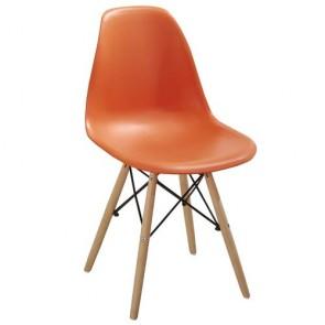 Sedia cucina in polipropilene e gambe in legno. Sedie ufficio design arancio da scrivania, poltroncina ideale anche in soggiorno.