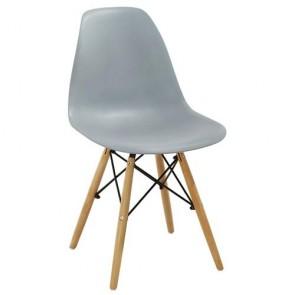 Sedia cucina in polipropilene e gambe in legno. Sedie ufficio design bianca da scrivania, poltroncina