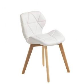 Sedia poltrona in legno massello con finitura in rovere, sedie design Tomasucci in pelle sintetica