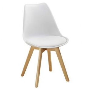 Sedia cucina in polipropilene e gambe in legno. Sedie ufficio design bianca da scrivania, poltroncina con cuscino