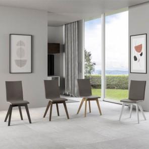 Sedia cucina in similpelle e gambe in legno. Sedie ufficio design da scrivania, poltroncina con cuscino e schienale tortora ideale anche in soggiorno.