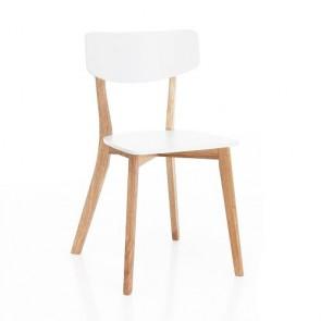 Sedia cucina in legno laccato bianco opaco e rovere, sedie design soggiorno