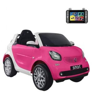 Auto elettriche per bambine Smart con batteria 12 volt, telecomando e seduta in pelle. Macchina elettrica Mercedes rosa per bambina con monitor MP4