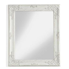 Specchio da parete con cornice bianco anticato, specchiera ingresso stile shabby chic