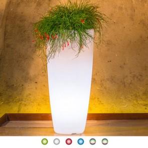 Vaso luminoso da giardino in resina bianca per esterno. Vasi luminosi da interno illuminati di luce multicolore RGB con telecomando, ideale per le piante del terrazzo.