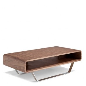 Tavolino salotto Angel Cerdà in legno impiallacciato. Tavolini soggiorno con gambe in acciaio inossidabile.