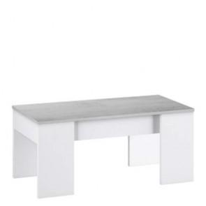 Tavolino salotto bianco in legno con piano elevabile e spazio contenitore, tavolini soggiorno design