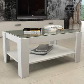 Tavolino salotto bianco in legno e vetro, tavolini soggiorno design moderni