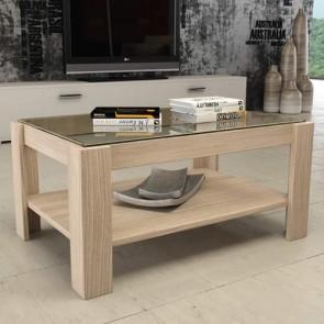 Tavolino salotto olmo in legno e vetro, tavolini soggiorno design moderni misura 90x60x41 cm.